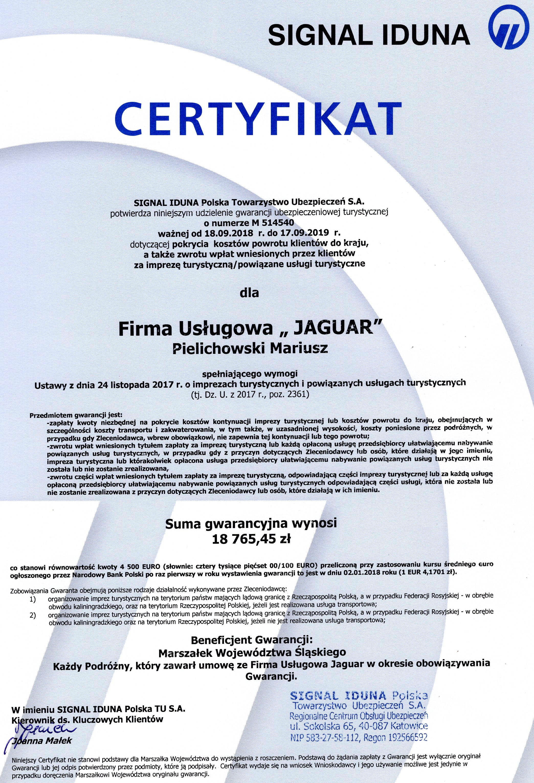 Certyfikat 2019 r