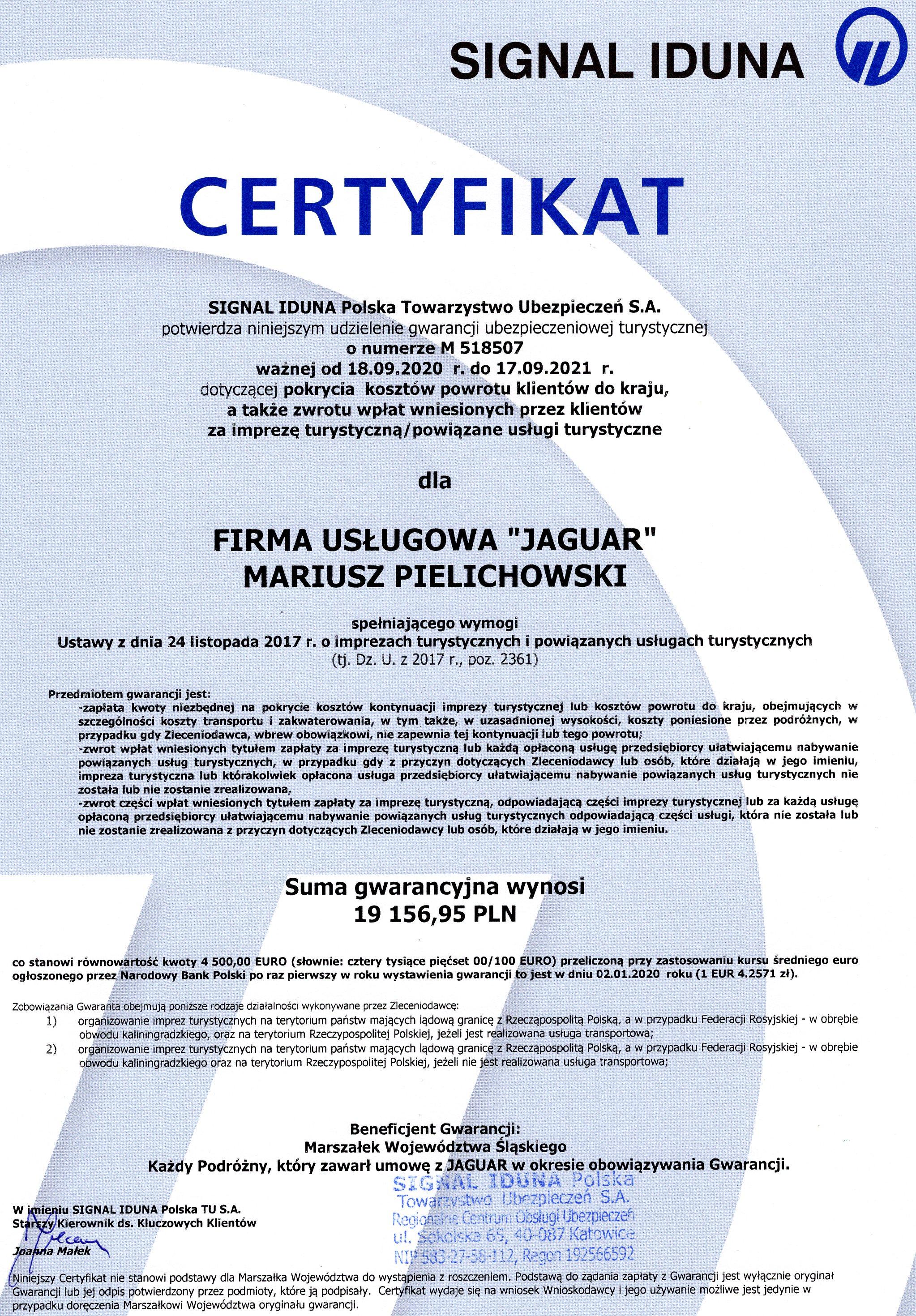 certyfikat 2020- 2021